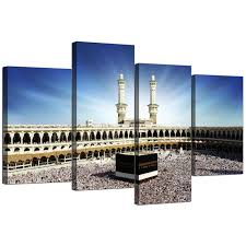 islamic canvas wall art of kaaba hajj in mecca for muslims set of 4