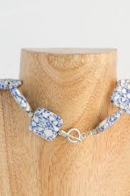 silver metal choker necklace images Bralin blue and white pressed stone and silver metal choker jpg