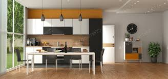 white kitchen cabinets orange walls modern black and white kitchen with dining table and orange wall photo by archideaphoto on envato elements
