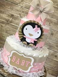 Penguin Baby Shower Decorations Penguin Diaper Cake In Mocha Pink And White Penguin Baby
