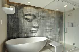 unique zen bathroom decoration idea with interesting wall