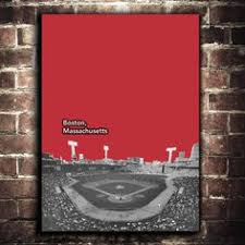 Boston Red Sox Home Decor Vintage Boston Red Sox Fenway Park Blueprint On Canvas Sports