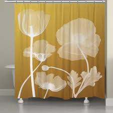Yellow Flower Shower Curtain Laural Home X Ray Flowers Shower Curtain 71 Inch X 74 Inch