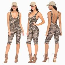 camouflage jumpsuit womens 2017 fashion camouflage jumpsuit romper fitness slim backless