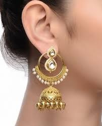 jhumkas earrings earrings golden beaded hoop jhumka earrings online shopping