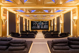 Home Theater Design Miami Art Deco Home Theater With Red Curtains Hgtvremodels Com Home