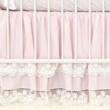 pink vintage lace double ruffle crib skirt caden lane
