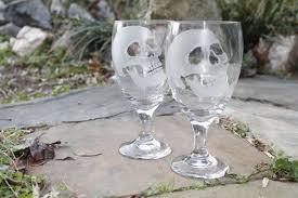 halloween goblets wine glasses skulls set of two hand engraved glass water goblets