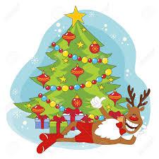 cartoon christmas deer and christmas tree hand drawing