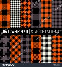 orange black halloween background halloween plaid buffalo check patterns orange stock vector