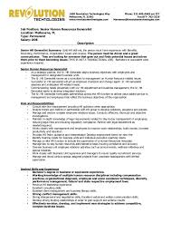 Hr Generalist Resume Samples by Senior Hr Generalist Position Open Revolution Technologies
