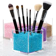 acrylic square make up box plexiglass makeup brush holder
