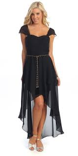 black high low cap sleeve formal dress discountdressup com