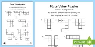 year 2 place value puzzles activity sheet mathematics