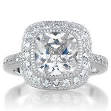 vintage halo engagement rings vintage style halo cushion cut cz engagement ring