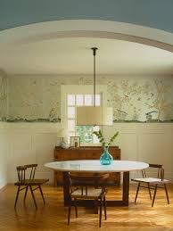 decorating turquoise chinoiserie wallpaper covering bedroom wall