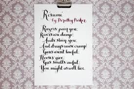 Resume Dorothy Parker Poem Dorothy