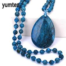 turquoise blue stone necklace images Buy natural stone water drops pendant natural jpg
