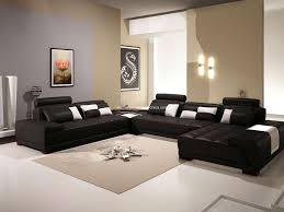 Black Leather Sofa With Cushions Black Leather Sofa With Brown Velvet Seat And Back Plus