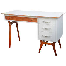 custom white lacquer desk with lucite side panels for sale at 1stdibs