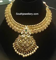 antique gold necklace images Antique gold mango necklace jewellery designs jpg