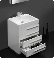 Modern Bathroom Sink Cabinet 23 5 Fresca Livello Fvn8024wh White Modern Bathroom Vanity W