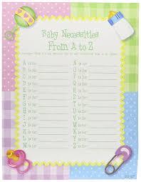 amazon com baby necessities a to z shower game 2 dz kitchen