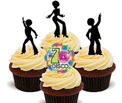 edible cake decorations 70s disco party silhouettes edible cupcake toppers stand up