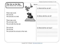 the cat on the mat 1st grade reading comprehension worksheet wk 1