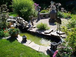 terrific fall landscaping ideas with fish pond in the garden