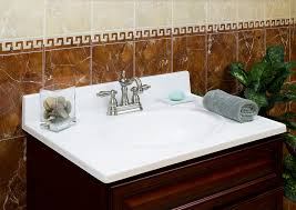 white marble countertop on brown bathroom vanity with single sink