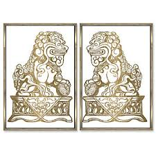 pictures of foo dogs foo dogs set of 2 animal wall themes z gallerie