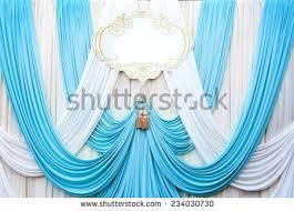 wedding backdrop blue white gold curtain backdrop background wedding stock photo