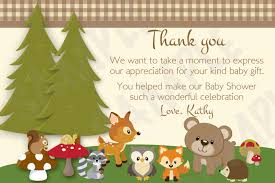 woodland friends forest animals theme baby shower thank you