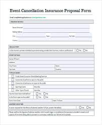 Event Insurance 47 Insurance Proposal Form Sample