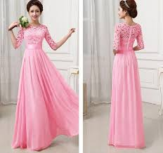 dress murah bridesmaid dress half sleeve lace chiffon cocktail evening gown