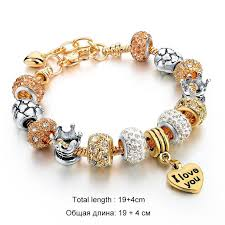 gold charm bracelet beads images 18k gold and rose gold charm with crystal stones bracelets syrona jpg