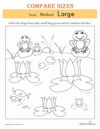 kindergarten activities big and small sizes small medium and large colour list worksheets and school
