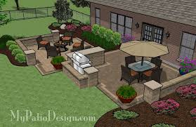 Backyard Brick Patio Design With Grill Station Seating Wall And by Patio With Pergola Over Fireplace Area Outdoor Fireplaces U0026 Fire