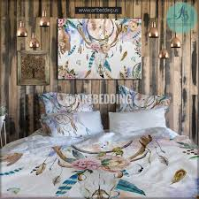 bohemian bedding mandala elephant bedding boho beding wall tapestry with boho bedding watercolor deer skull wildflowers duvet bedding set bohemian  feather totem bedding  from artbeddingus