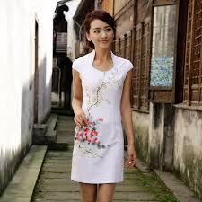 modern open neck qipao cheongsam dress white qipao cheongsam