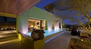Modern Home Design Las Vegas by Evening Pool Lighting Massive Modern Home In Las Vegas