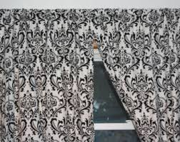 Black And White Damask Curtain Coral And White Damask Curtains