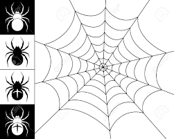 cobweb spider on a white background silhouettes of spiders on