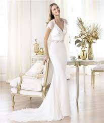 sheath v neck cap sleeve satin lace chiffon wedding dress with buttons