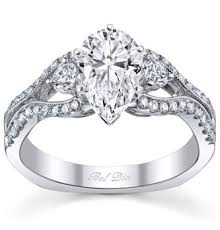 Pear Shaped Wedding Ring by Shaped Three Stone Engagement Ring With Split Shank