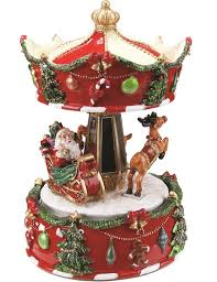 northlight animated musical santa and reindeer carousel with