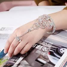 bridal ring bracelet images 2018 elegant bridal hand harness bangle rhinestone bridal finger jpg