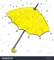 umbrella under rain hand drawing cartoon stock vector 92897920
