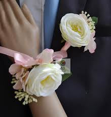 corsage and boutonniere cost real touch white light pink wedding flowers groom wrist
